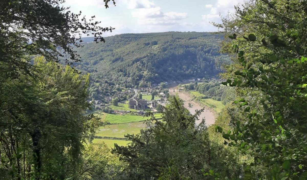 Offas Dyke walk river Wye view of Tintern Abbey from Devils Pulpit Wales UK