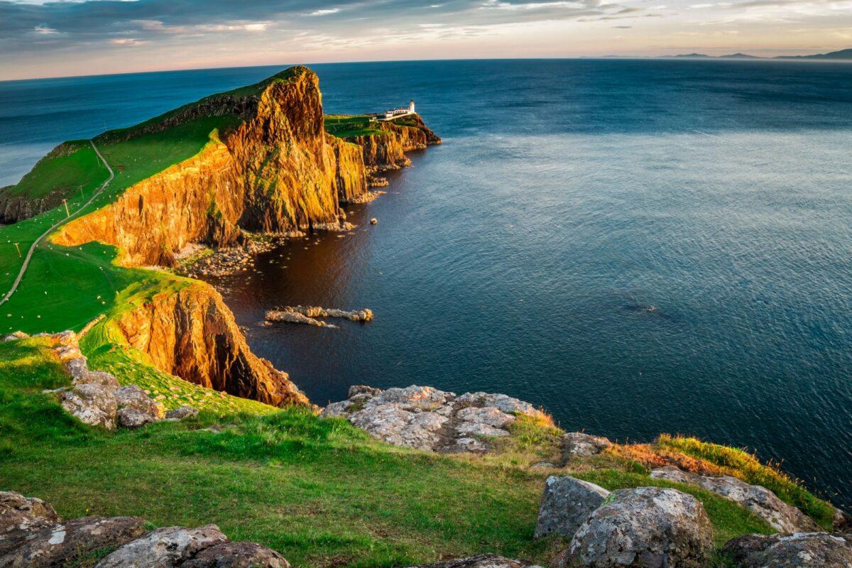 Scotland The Neist point lighthouse at dusk
