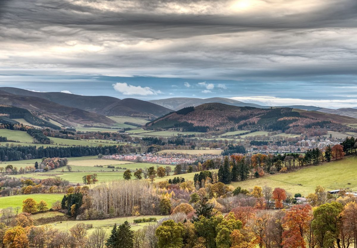 Scotland borders Peebles and Glentress forest in Autumn fading to winter