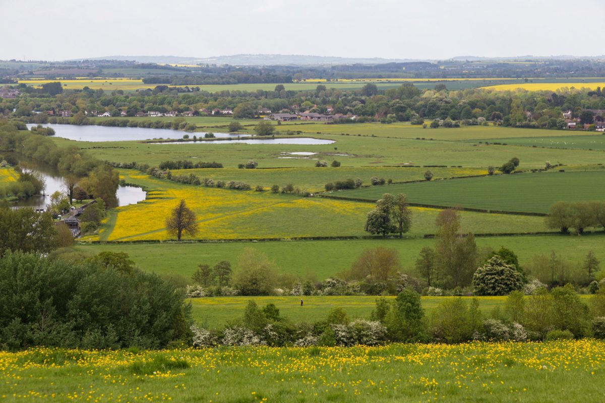 South Oxfordshire countryside with River Thames looking from Wittenham Clumps england UK