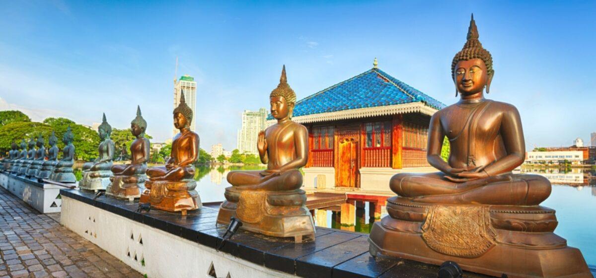 Sri Lanka Colombo Seema Malaka temple on Beira Lake