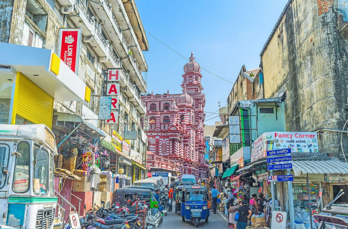 Sri Lanka Colombo towers and domes of Jami Ul Alfar Mosque Pettah market