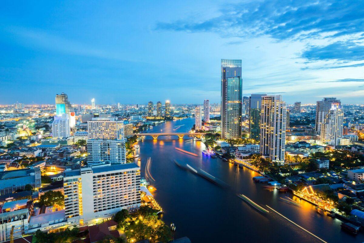 Thailand Bangkok Aerial view of Bangkok Skyline along Chaophraya River