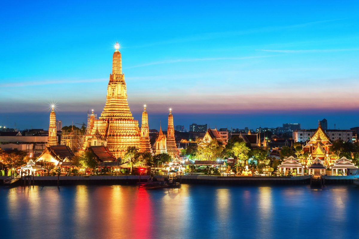 Thailand Bangkok Wat Arun night view Temple