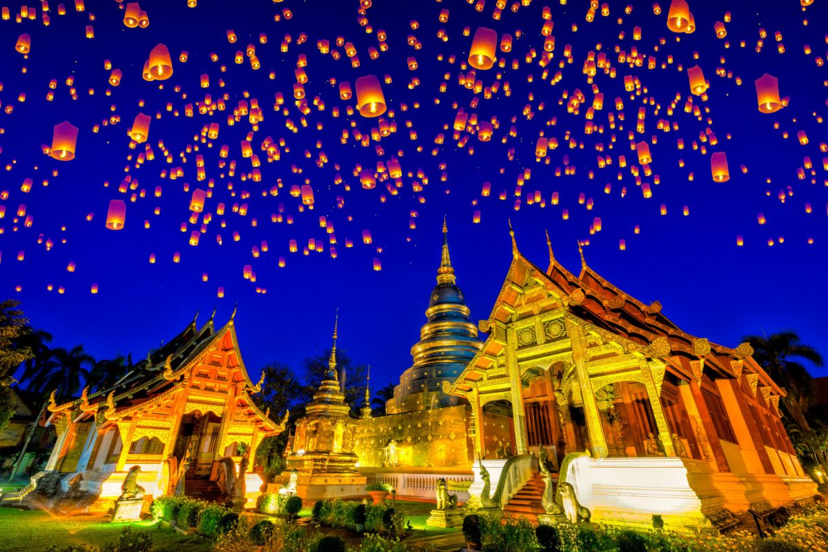 Thailand Chiang Mai Floating lamp and krathong lantern in yee peng festival at Wat Phra Singh temple This temple contains supreme examples of Lanna art in the old city center