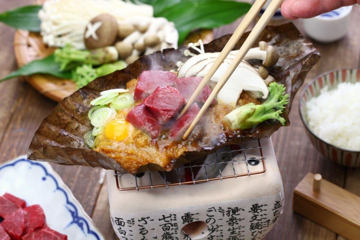 Tokyo Food Charcoal grilled Hida beef on Hoba miso ocal food in Takayama