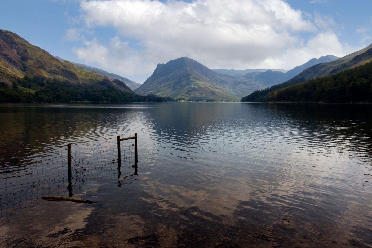 UK England Lake District Buttermere surrounded by green hill in Englands Lake District