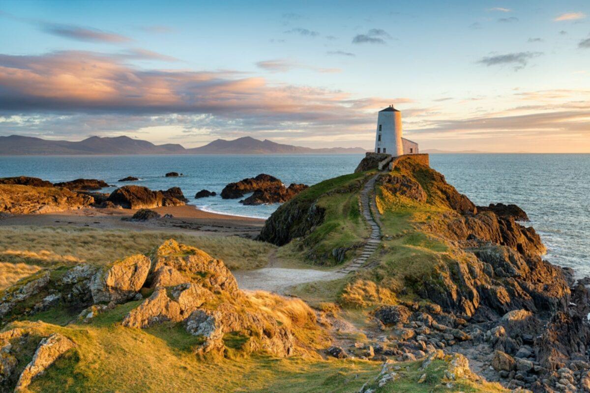 Wales Anglesey Sunset at Ynys Llanddwyn island
