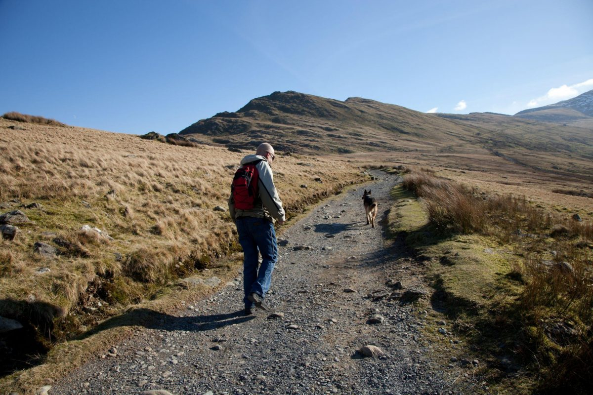 Wales Snowdonia Llanberis path towards Snowdon man walking