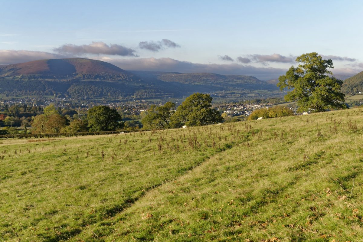 Beacon way Abergavenny and Blorenge viewed from base of Ysgyryd Fawr Skirrid Fawr Monmouthshire Wales