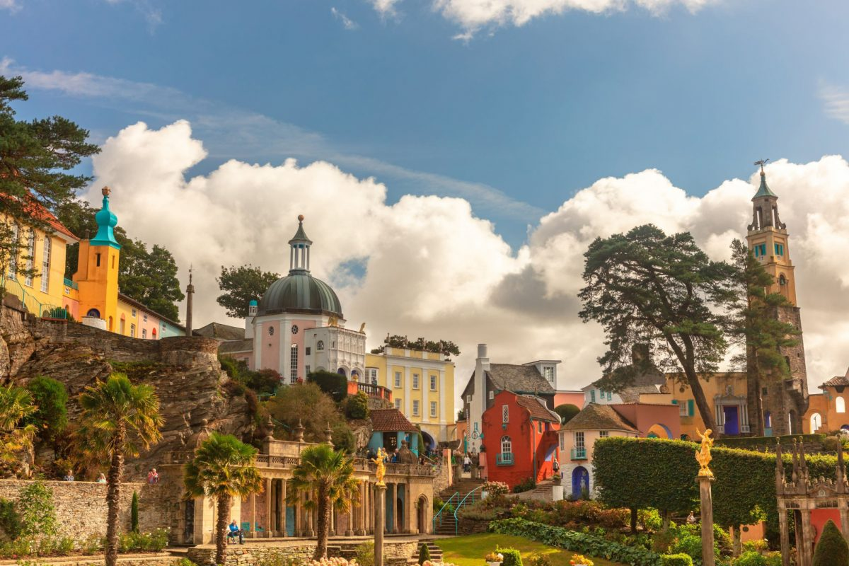 Budget Portmeirion with its Italian village style architecture in Gwynedd North Wales UK
