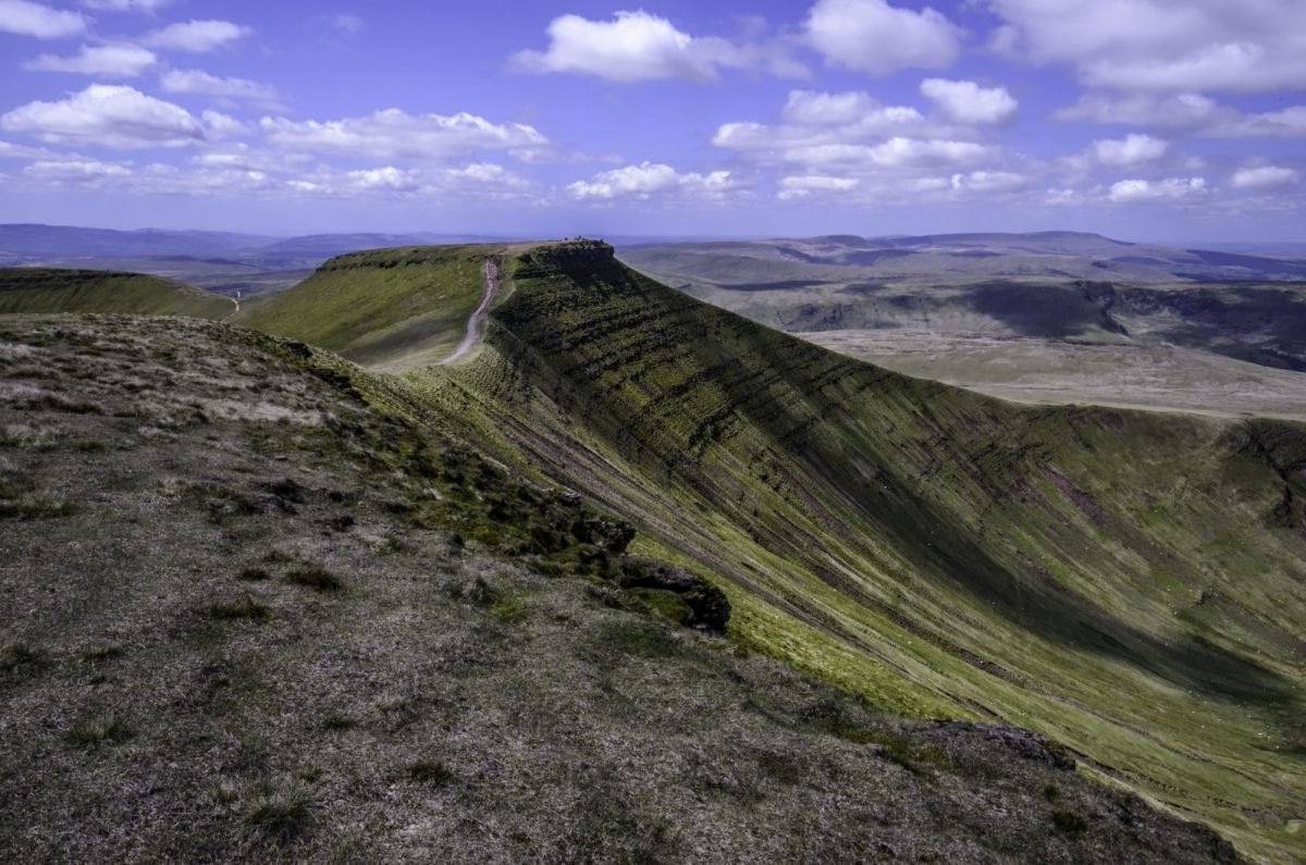 Cambrian way Corn Du in Brecon Beacons in Wales UK