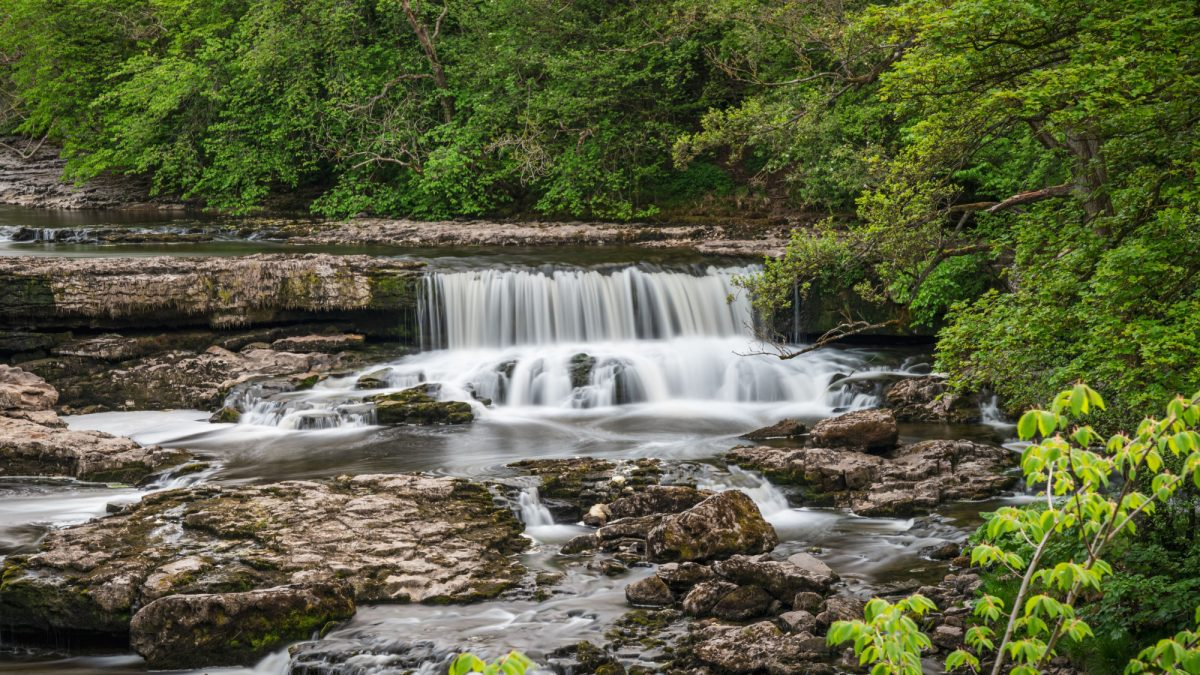 Family Aysgarth Falls Yorkshire Dales UK