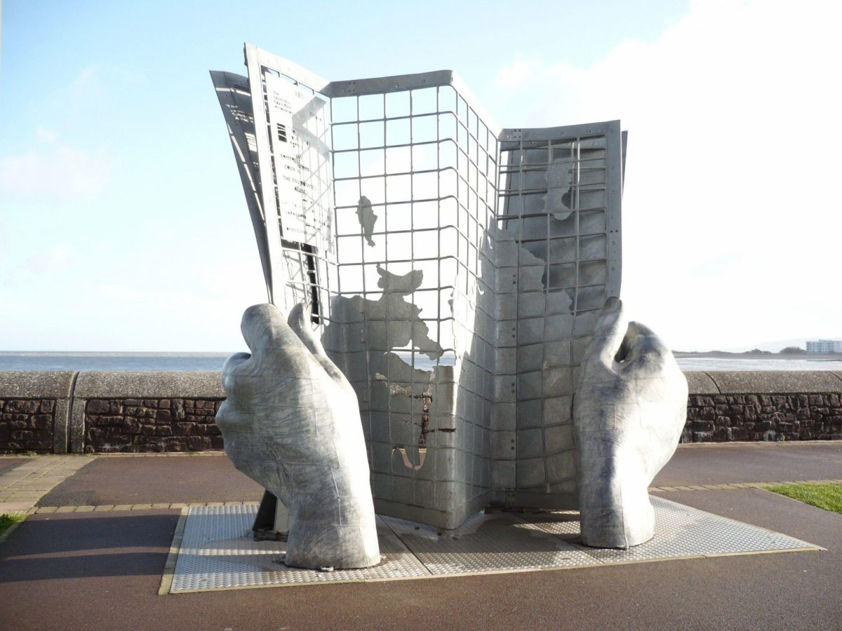 Sculpture at the start of the South West Coastal Path Minehead South West England UK