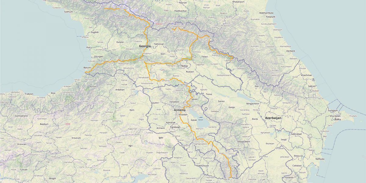 Transcaucasian trail route illustration
