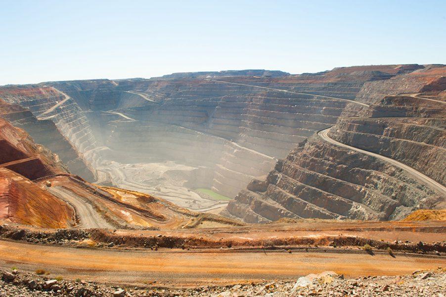 Aus aerial view of Super Pit goldmine in Kalgoorlie