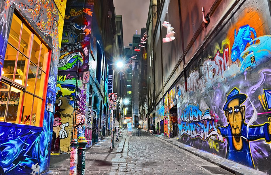 Aus graffiti artwork at Hosier Lane Melbourne