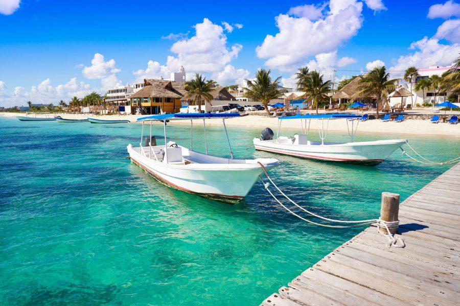 Mexico Yucatan Puerto Morelos beach boats in Mayan Riviera Maya of Mexico