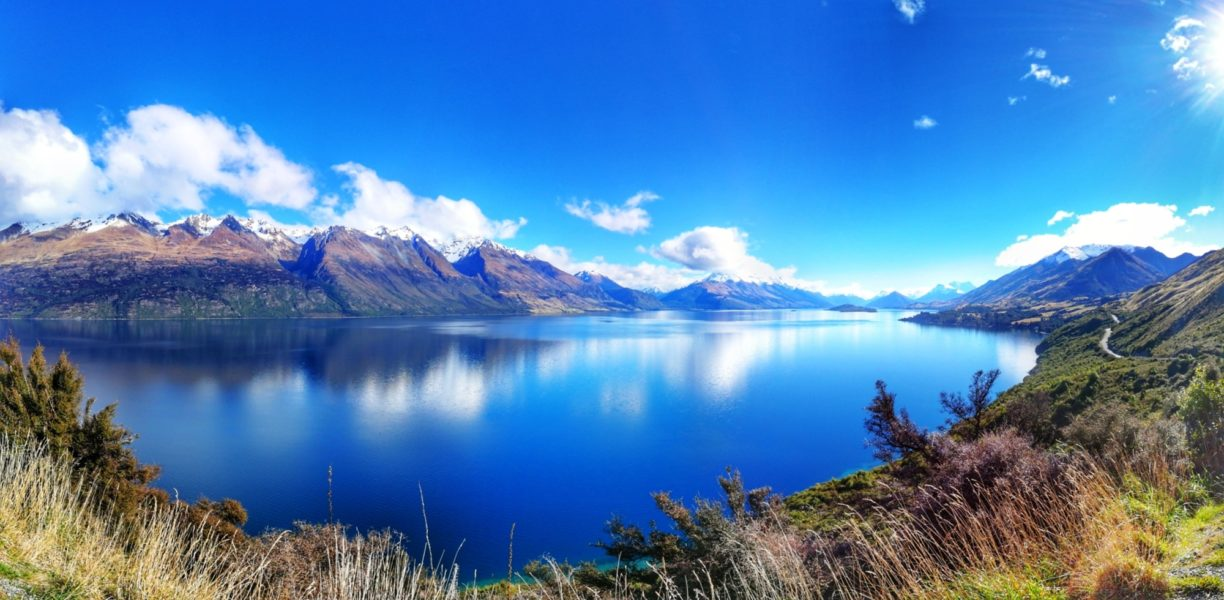 NZ Lake Wakatipu view from Queenstown towards Glenorchy