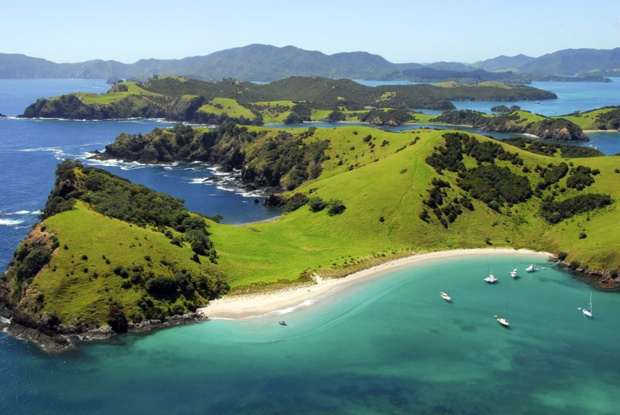 NZ Waewaetorea Island Aerial Bay of Islands Northland