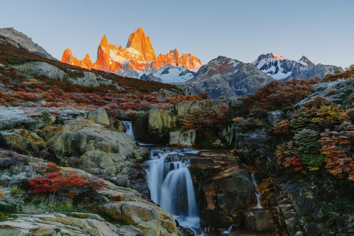 El Chalten View of Mount Fitz Roy and the waterfall in the Los Glaciares National Par