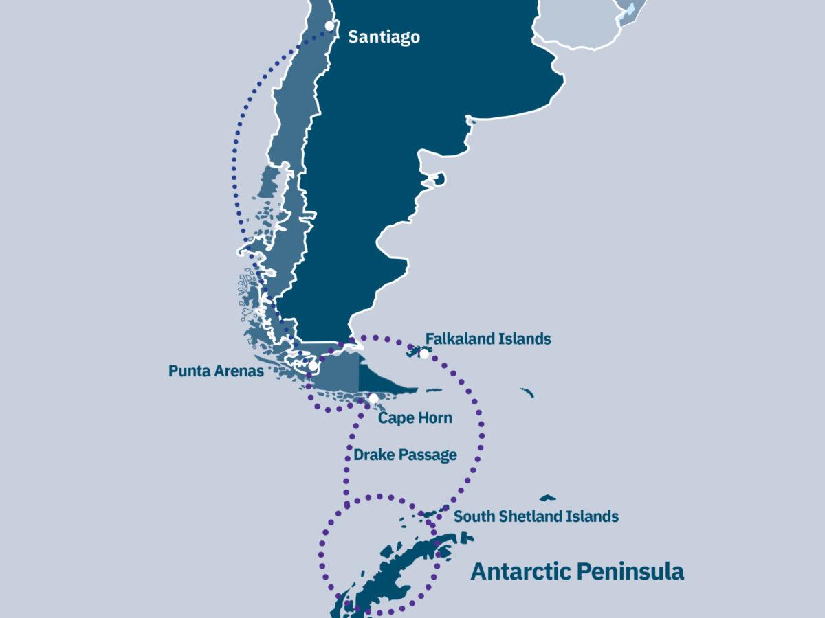 Patagonia Fjords, Antarctica & Falklands Route Map