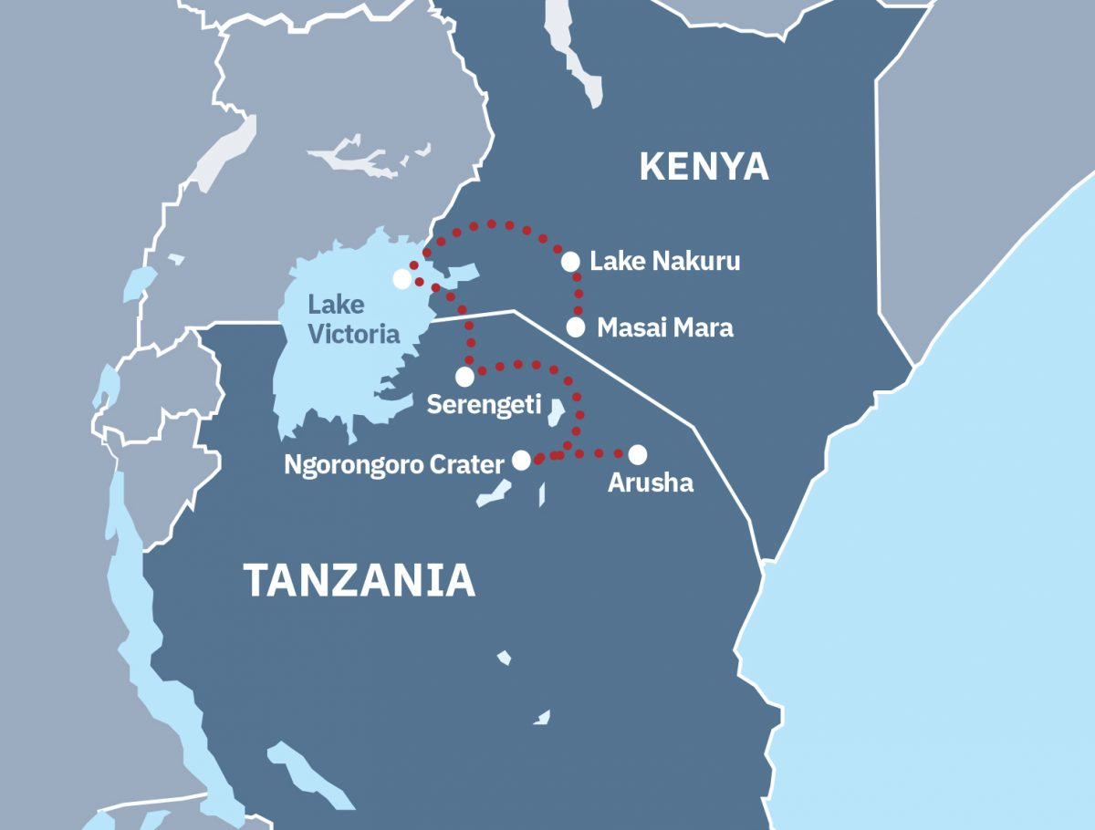 Best of Kenya and Tanzania Route Map