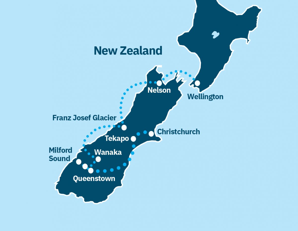 North and South Island Route Map