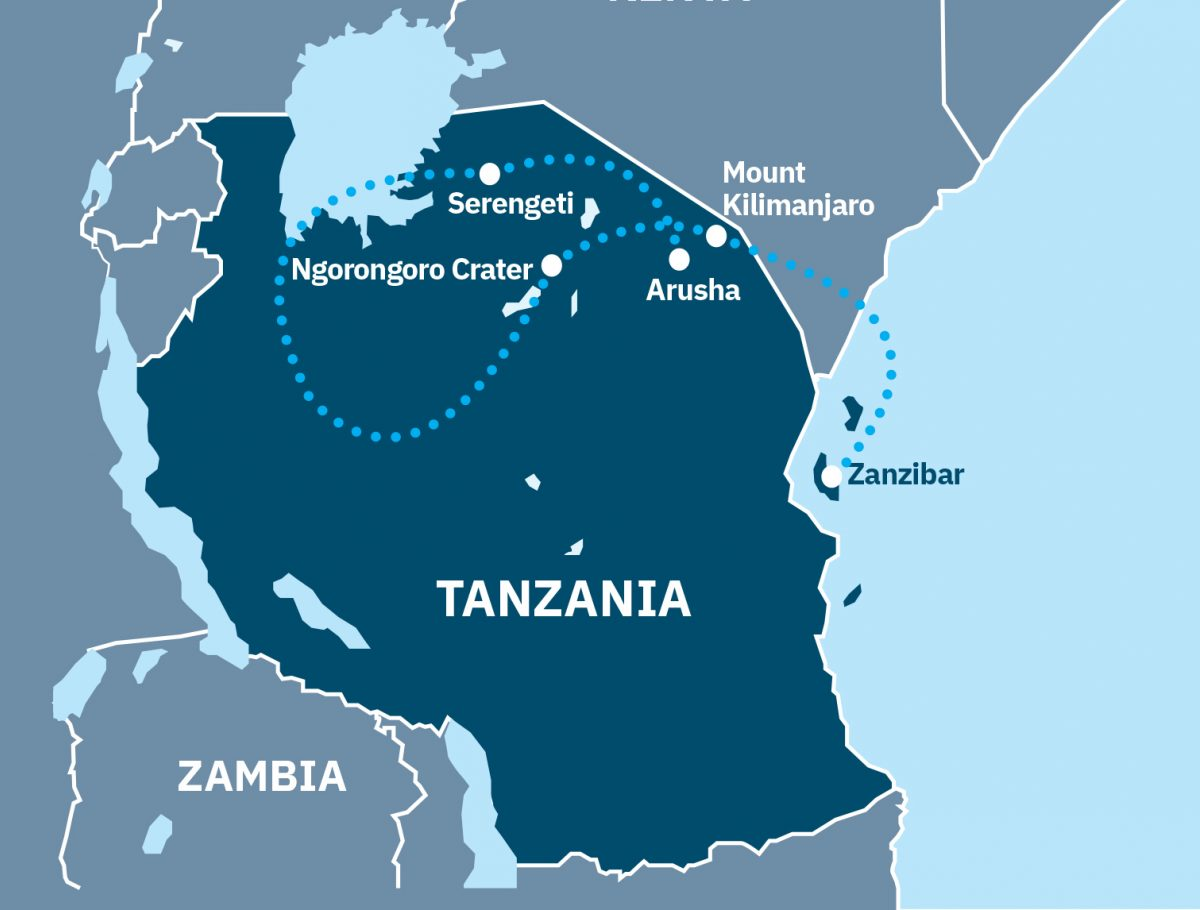 Tanzania safari, islands and mountains Route Map