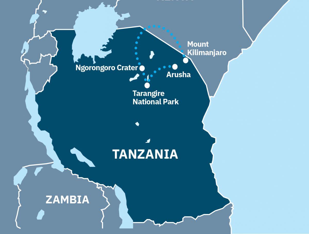 Tanzanian safaris and climbing Kilimanjaro Route Map