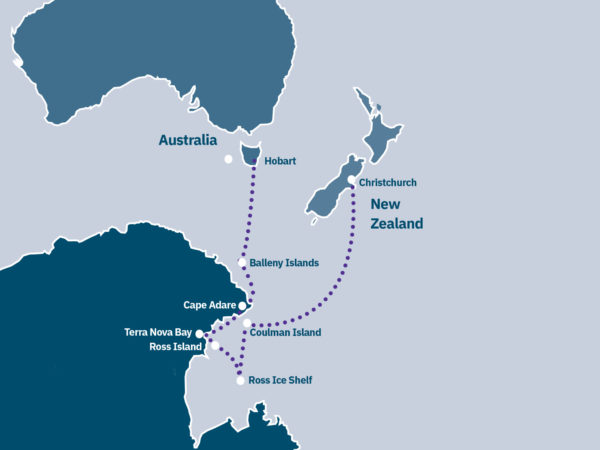 Antarctica & Ross Sea Expedition Route Map
