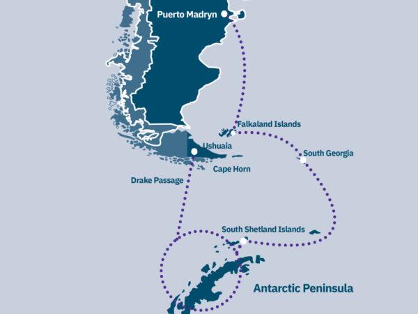 Antarctica, South Georgia & Falklands Route Map