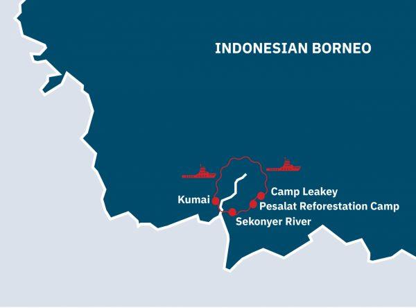 Orangutans and Tanjung Puting Route Map
