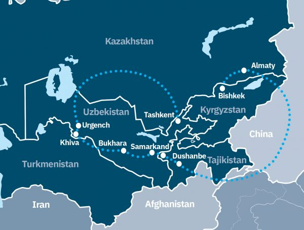 Historical cities of the Silk Road Route Map