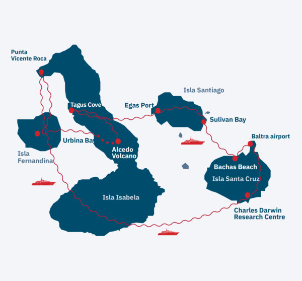 Classic Galapagos cruise Route Map
