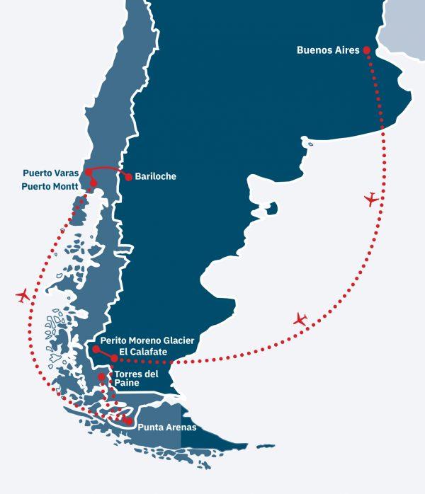 Argentina & Chile Explorer Route Map