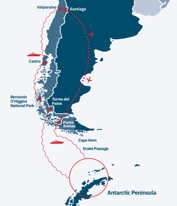 Chile to Antarctic Cruise Route Map