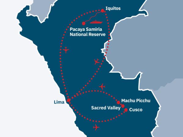 Machu Picchu & Amazon Cruise Route Map