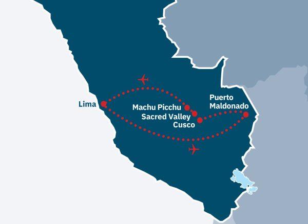 Machu Picchu & Amazon Lodge Route Map