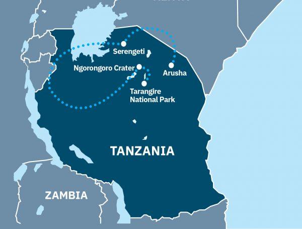 Ultimate Tanzanian safari Route Map
