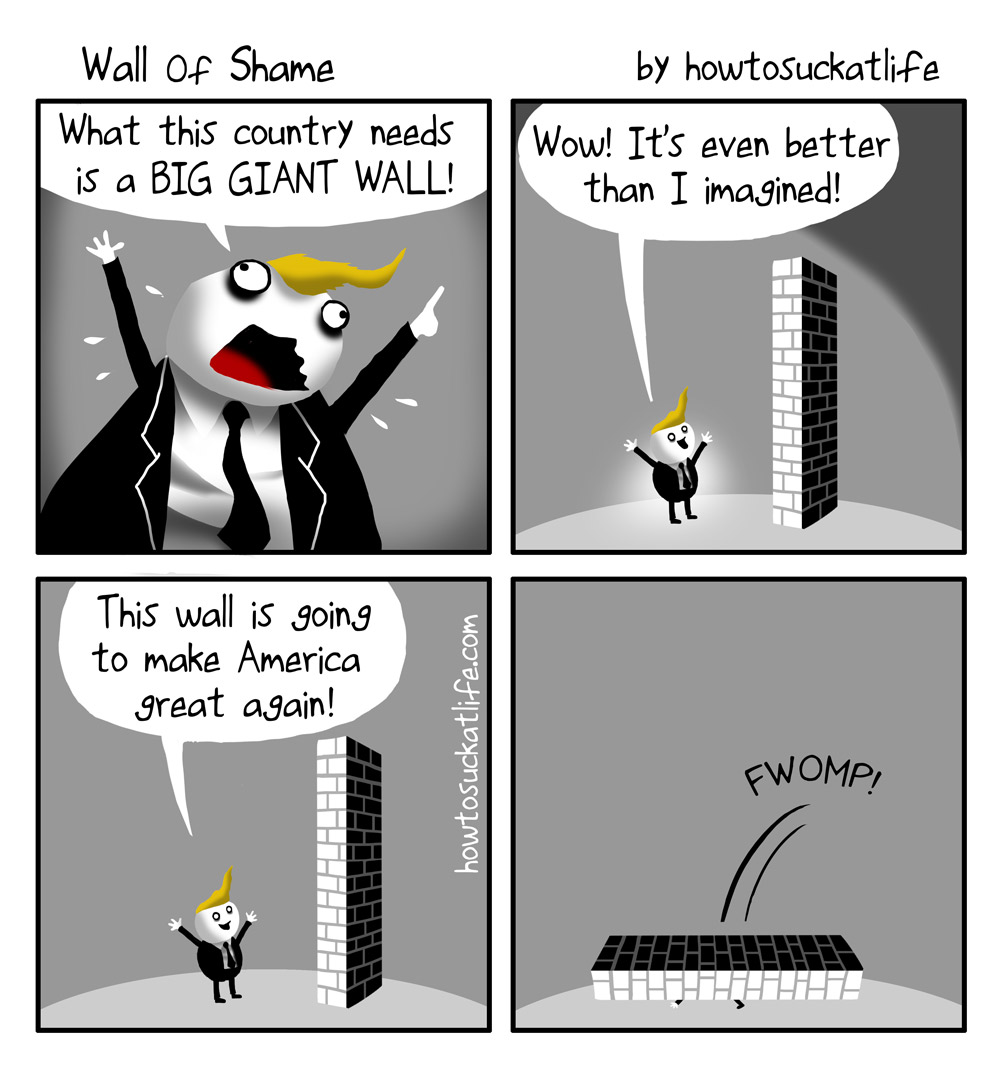 Trump Wall of Shame comic <!-- add social buttons here --> <style> area {display:none;} </style>  <div id=