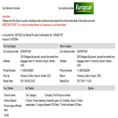 Responded No Show By Europcar Despite A Deposit Being Paid