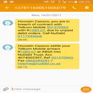 Telkom Acknowledges my account is up to date but Nudebt