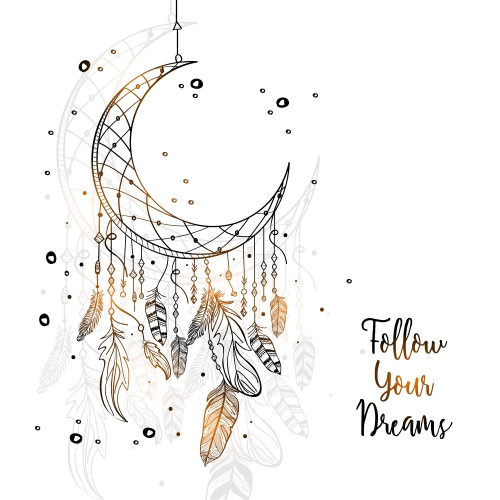Article Creative Hand Drawn Dream Catcher With Crescent Moon And