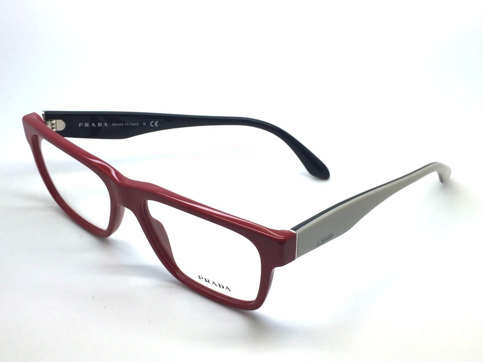 Nuevo VPR16R PR16RV TKS-1O1 Prada Rojo Beige Auténtico Gafas Marco ...