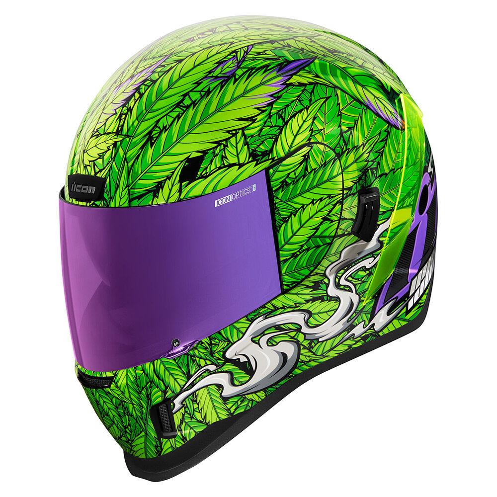 Icon Airform Ritemind Unisex Fullface Motorcycle Weed Pot Leaf Street Helmet