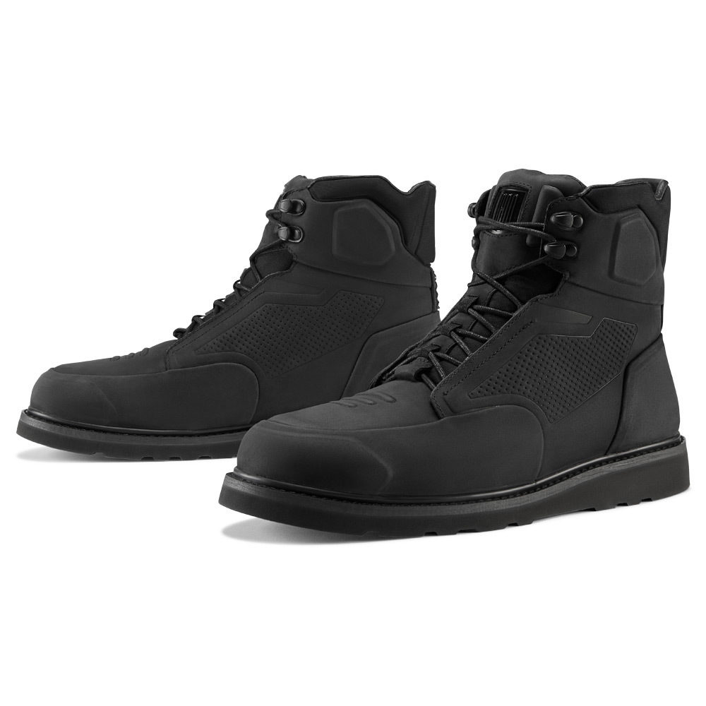 Icon Mens Leather Pair Black Brigand Motorcycle Riding Street Racing Boots