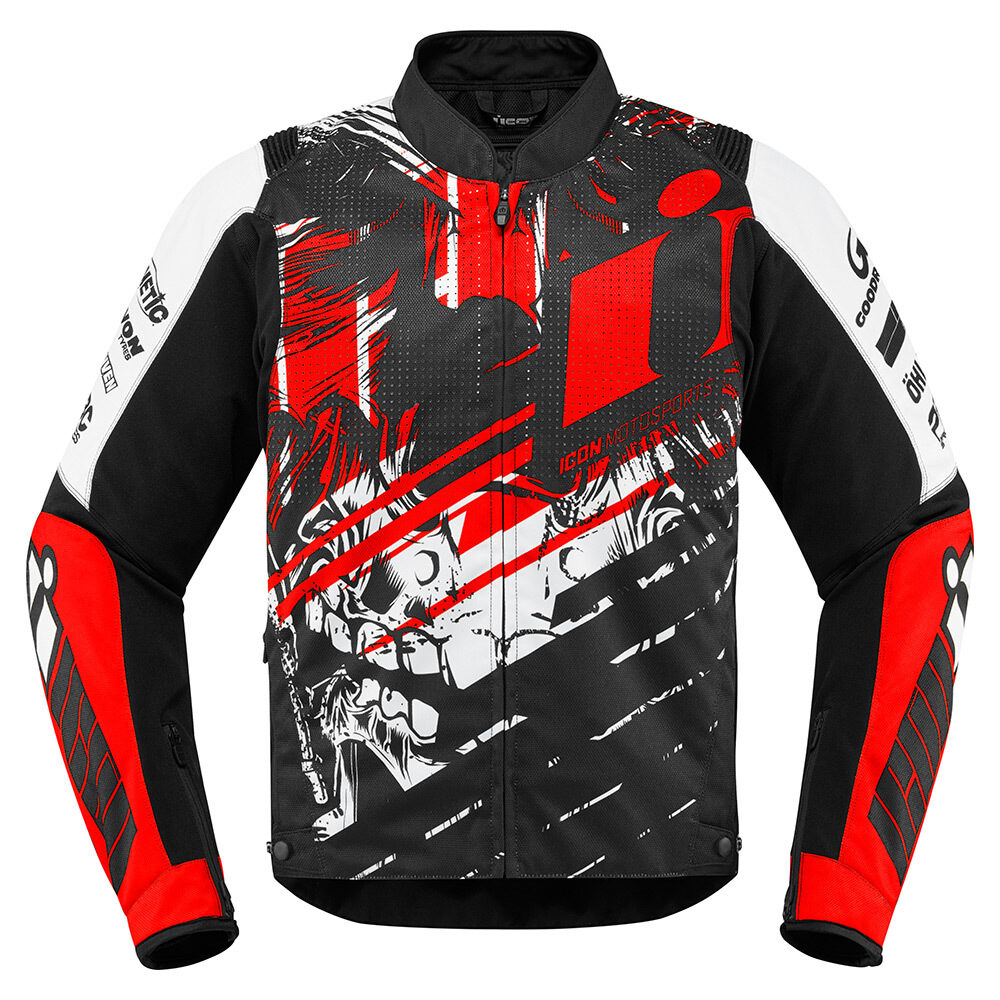 ICON Overlord PRIMARY Perforated Textile Riding Jacket Choose Size Red//Blk