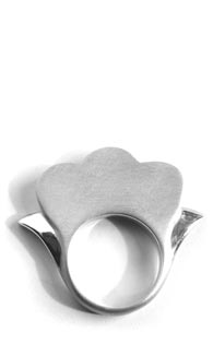 I Dream I Can Fly Flower Ring in brushed sterling silver