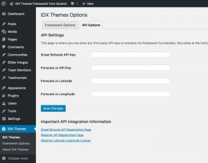 IDX Themes Framework Components Overview